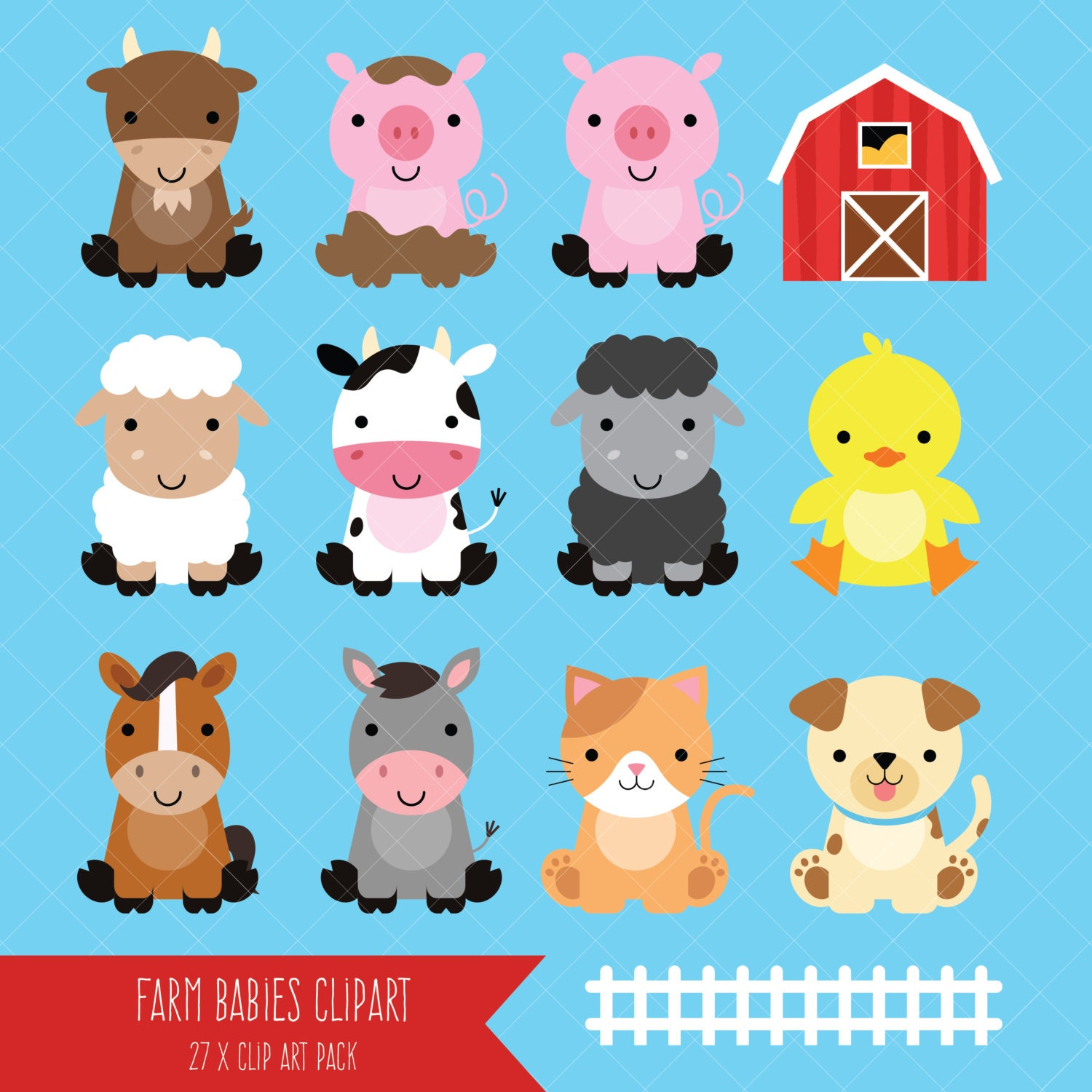 Farm Baby Animals Clipart / Cute Animal Clipart / by ...