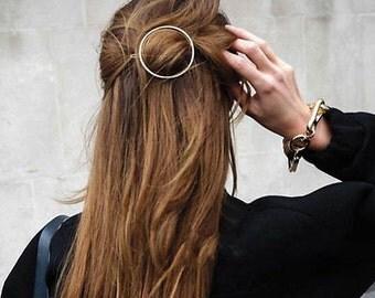 Geometric Hair Clip / Geometric Circle Hair Clip Geometric Jewelry / Circle Barrette / Gold Geometric Hair Clip Minimalist