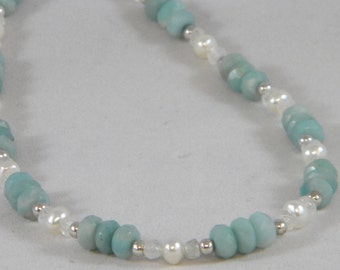 OOAK Genuine Amazonite and Freshwater Pearl, Sterling Silver Beaded Necklace