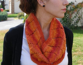 Red/Orange Hand Knitted Cowl.  Silk, Cotton, Acrylic