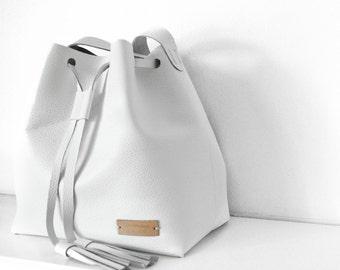 White Leather Bucket w|Adjustable Strap