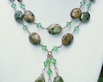Rhyolite & crystal 2-strand dangle necklace