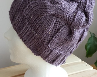 Hand Knit Hat. Cable Knit Hat. Chunky Hand Knit Touque. Tweed Hat. Colourful Purple Winter Hat.