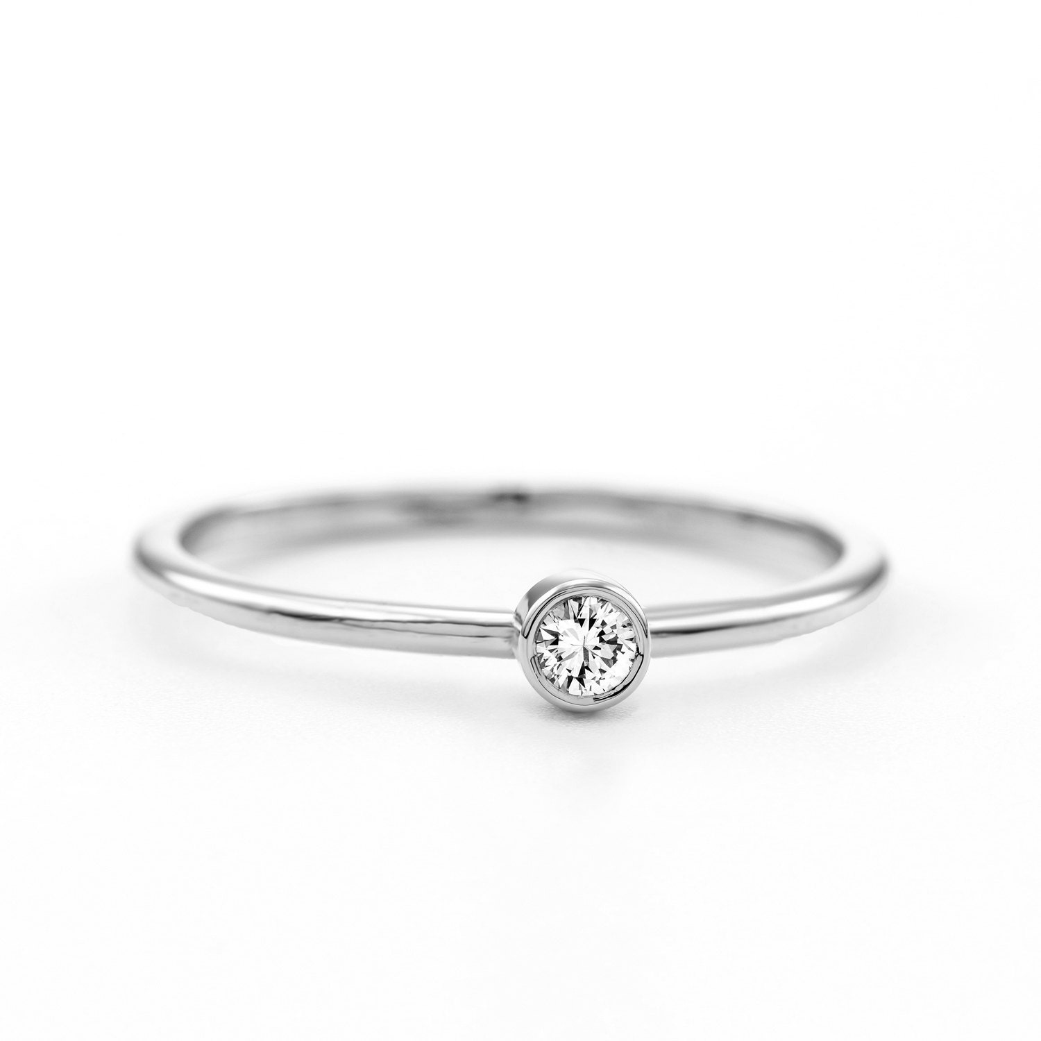 Thin Round Diamond Ring Dainty Round Diamond Ring Minimalist Round Engage