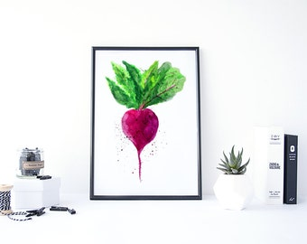 Beetroot Art, Beet Root Print, Kitchen Art Decor, Beet Wall Art, Watercolor Kitchen Art, Kitchen Painting, Printable Kitchen Art, Food Print