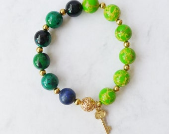 Tropical & Lime Green Large Beads Stretch Bracelet