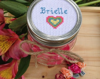 Personalized Mason Jar With Heart, Mason Jar Decor, Mason Jar Lid, Gift for Her, Gift for Kids, Cross Stitch Art, Custom Gift for Girl