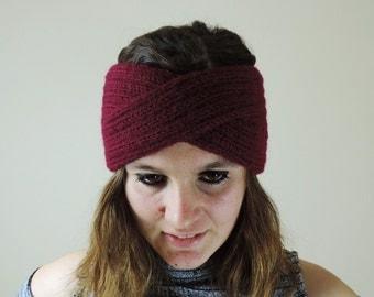Turban Headband, Knit Headband, Burgundy Turban Headwrap, Boho Headband, Knitted Ear Warmer, Bohemian Knitted Headband, Burgundy Headband