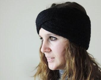 Turban Headband, Knit Headband, Black Turban Headwrap, Boho Headband, Knitted Ear Warmer, Bohemian Knitted Headband, Black Headband