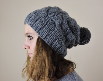 Sharkskin Gray (or Choose Color) Hand Knitted Beanie, Slouchy Beanie, Cable Knit Hat, Pom Pom Beanie, Mens Wool Hat, Womens Cabled Beanie