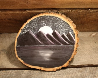 Night Mountain Landscape with Stars and Moon on Wood