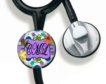Stethoscope ID Tag, Personalized Name Badge, Monogramed Steth Tag, Polka Dots & Flowers, Nurse Badge Reel   211B