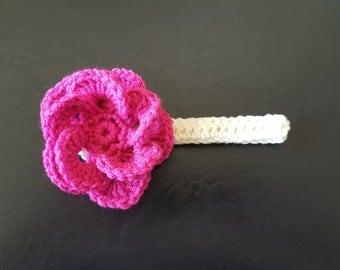 Crochet Baby Headband, Baby Headband, Baby Girls Headband, Toddler Headband, Pink Headband Big Flower Headband, Baby Shower Gift, Photo Prop