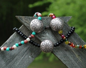 Flower Seed Bead Bracelet, DIFFERENT COLOR OPTIONS, Hippie Bracelet, Boho Bracelet, Cute Bracelet