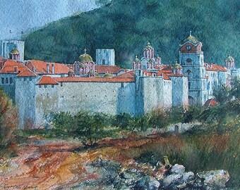 Mount Athos Esphigmenou Monastery Approaching View (Print)
