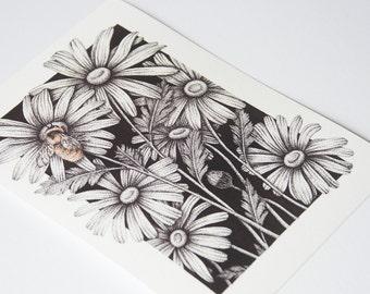 Bumble Bee Print Drawing Pointillism Floral Dot