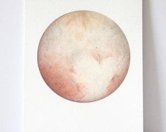Pluto Watercolour, Planet art, Planet Watercolor, Moon Print, Bohemian art, Moon art, science art, Space Art, Lunar art, Indie Decor