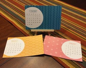 2017 Color Texture Desk Calendar \ 12 months January thru December \ optional Clear Stand or Easel