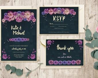 Printable Wedding Invitation Suite / Custom Wedding Stationary / DIY Wedding Invitation Kit / Chalkboard Invitation / Floral Wedding