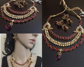 polki statement necklace /indian jewelry / ethnic necklace/ kemp/ polki gold necklace set /  polki earrings/ indian wedding/