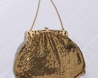 Vintage Whiting and Davis Gold Metal Mesh Evening Formal Handbag Purse