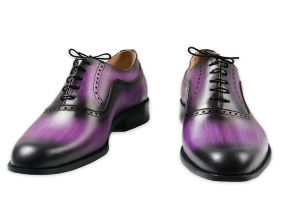 Leather men shoes, purple wood, Oxford, hand painted, personalized, made in Italy