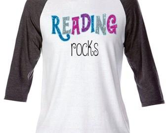 Reading Rocks (Glitter Writing Outlined in Rhinestones)
