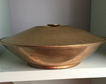 Mod Retro Brass Dish with Lid.  Solid brass