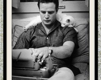 Marlon Brando photograph, black and white photo print, vintage photograph, old Hollywood photograph, gift for him