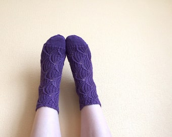 30% OFF Hand knitted socks,  merino wool socks, violet socks, lace socks, purple socks, wool socks, knitted socks, women's socks
