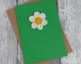 White and yellow crochet daisy, get well soon, friendship card, thank you card