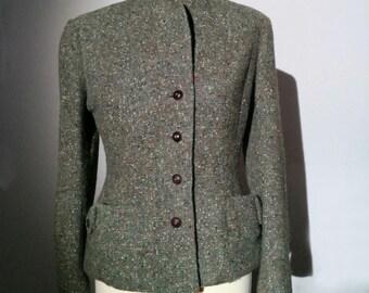 Vintage Green Flecked Tweed Jacket