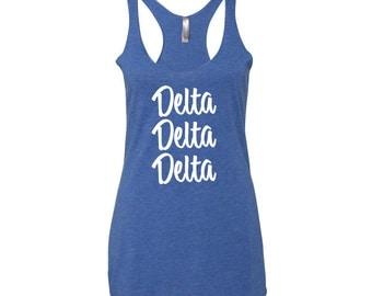 Delta Delta Delta  Tri Blend Racerback Tank, Tri Delta Tank Top, Sorority Letters Tank Top