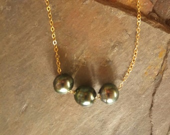 Triple Tahitian Pearl Floating Pearl Necklace