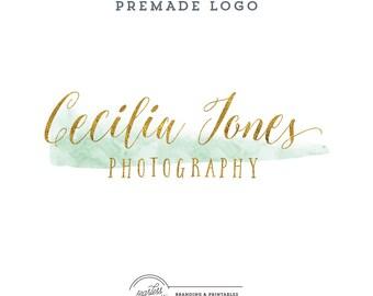 Watercolor Mint&Gold Premade Logo Design, Business Feminine Logo, Watercolor Logo, Feminine Branding, Gold Logo Design, Logo and watermark