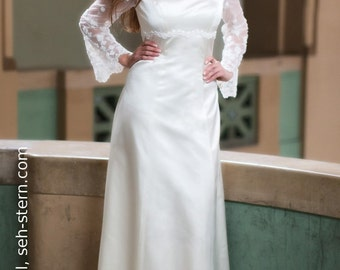bridal gown with embroidered sleeves