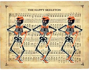 Dancing Skeleton Halloween Clip Art Vintage Style graphic Retro Download clipart illustration