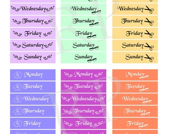 Cute Day of the Week Date Cover Stickers for Planners and Calendars / Undated Planners