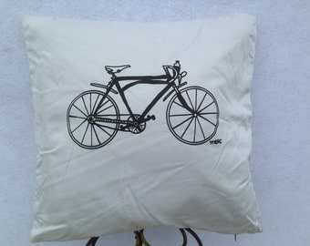 Grey Cotton Silk-screen Bicycle 2 Sided Pillow. Original Hand Drawn Hand Silk-screen Bike Images on Up-cycled Grey Cotton Pillow