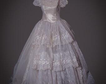 Vintage 1950's Wedding Gown/ Eugenie de Montijo Wedding Dress (#38)