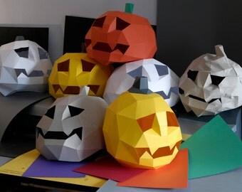 Halloween Decor. Papercraft Pumpkin.