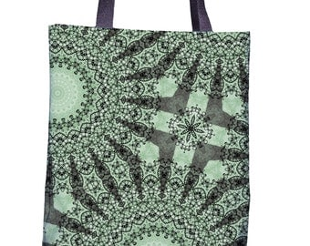 Forest Green Tote Bag - Carry All - Mandala Print Weekend Bag - Shades of Green Overnight Bag - Forest Green and Mint Green Tote Bag