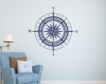 Compass Rose Decal- Compass Rose Wall Decor- Compass Wall Decal- Nautical Vinyl Wall Decal- Nautical Wall Decor- Nautical Bedroom Decor 120