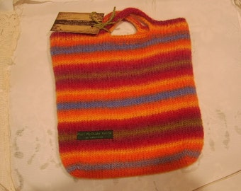 Felted Woollen Rainbow Bag (Hand-knitted, pure wool, felted - iPad size)