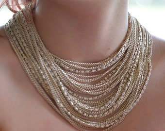 Stunning Gold Necklace Multi-Strand Necklace - Vintage Designer Arthur Pepper - Formal Jewelry - Gold Necklace Gift For Her
