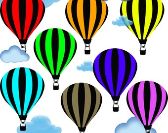 Hot Air Balloon Clip Art, Printable Digital 8 air balloons scrapbooking clouds Scrapbooking Elements Personal and Commercial Use