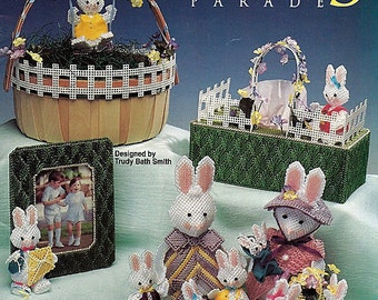 Bunny Parade, The Needlecraft Shop Plastic Canvas Easter Spring Decoration Pattern Booklet 923105 Centerpiece Basket Ornaments Photo Frame