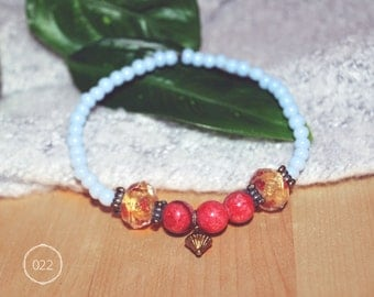Glass beads and fossil stone bracelet