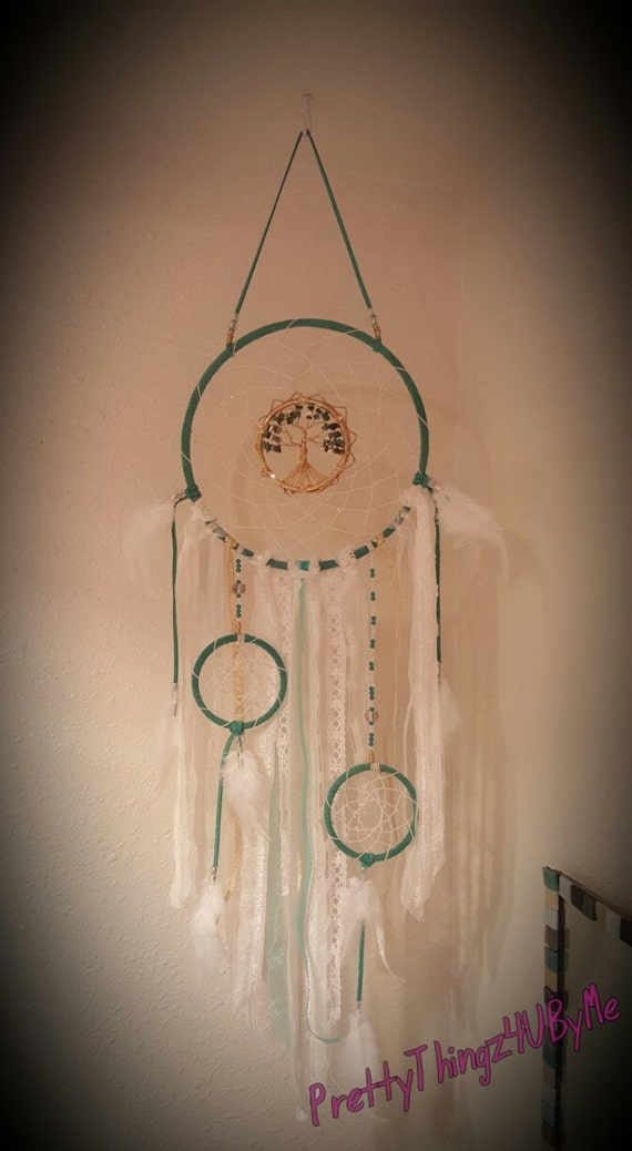 Green Tree Of Life Dream Catcher With China Turquise