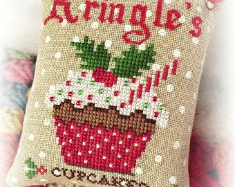 Kringle's Cupcakes Cross Stitch PDF Digital Pattern